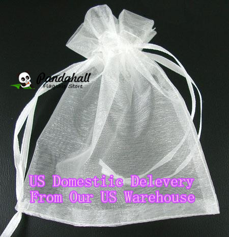 100pcs/lot 9x7cm organza gift bags White custom jewelry pouch for Christmas/wedding candy packaging Pandahall DIY suppliers(China (Mainland))