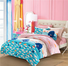 Pink and Blue Whale Ocean Theme Sea Fish Bedding Girls Kids 5 Pieces Bed Sheets Set 100% Cotton Duvet Cover Set Size Optional(China (Mainland))