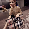 2016 early summer new bag plaid bag ladies handbag canvas bag large capacity portable diagonal shoulder