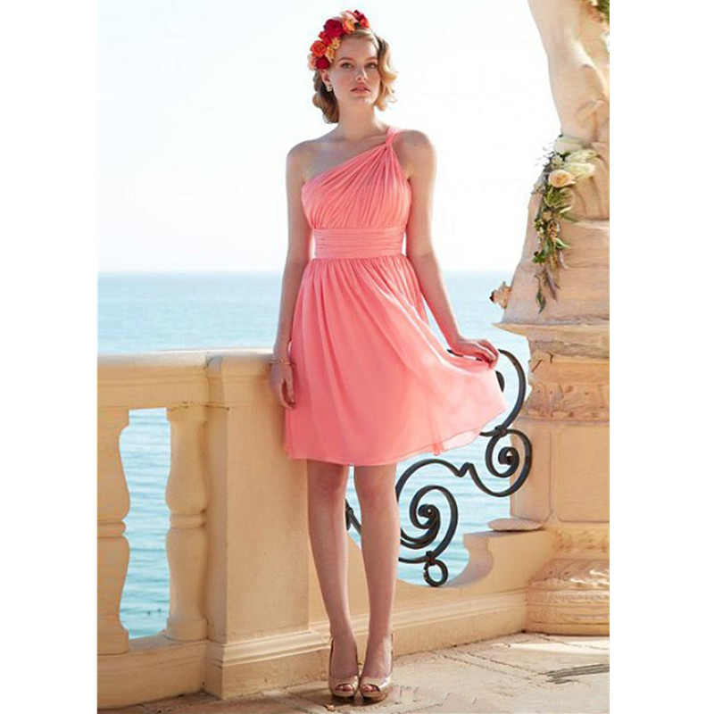 Coral chiffon bridesmaid dresses one shoulder a line short for One shoulder short wedding dress