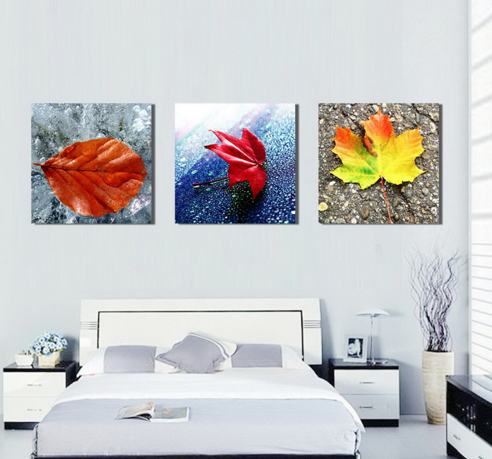 3 Pieces Canvas Print Three Style Leaves Painting For Living Room Wall Art Picture Home
