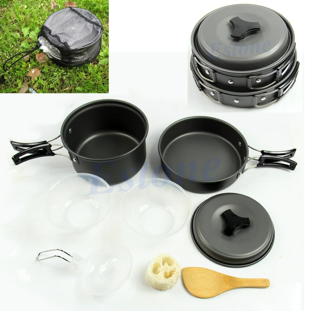 Free Shipping 8pcs Outdoor Camping Hiking Cookware Backpacking Cooking Picnic Bowl Pot Pan Set(China (Mainland))