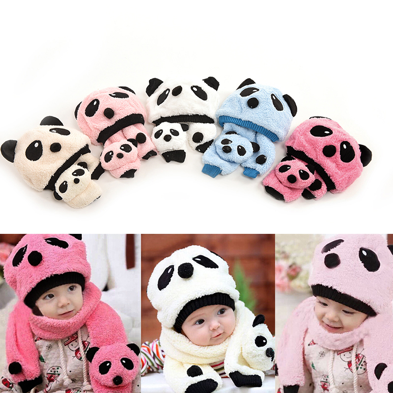 Hot Sale Lovely Animal Panda Baby Hats And Scarf Kids Boy Girl Crochet Beanie Hats Winter Cap For Children To Keep Warm(China (Mainland))