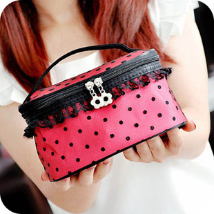 Cute Zipper Lace Dot Cosmetic Box Makeup Bag Coin Pouch Make Storage Organizer Case Mirror HZ-20 - Yiwu Active Combine store