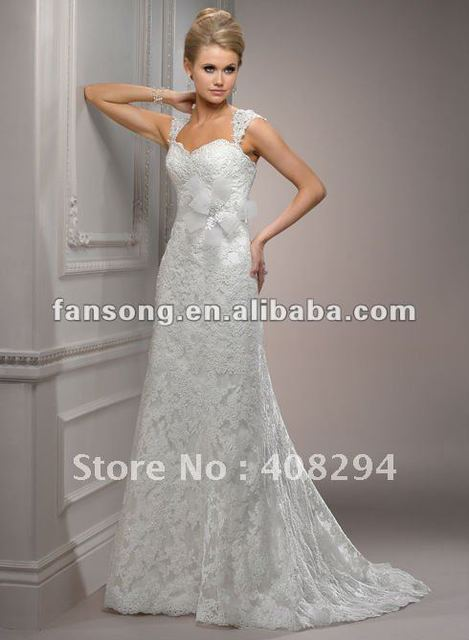 New Arrival Cap Sleeve Beaded Lace A-Line Wedding Dress