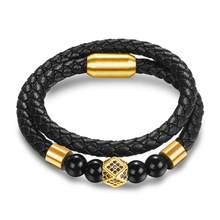 Jiayiqi New Fashion Leather Beaded Bracelet For Men Women Braided Leather Rope Bangles Natural Stone Beads Punk Rock Men Jewelry(China)