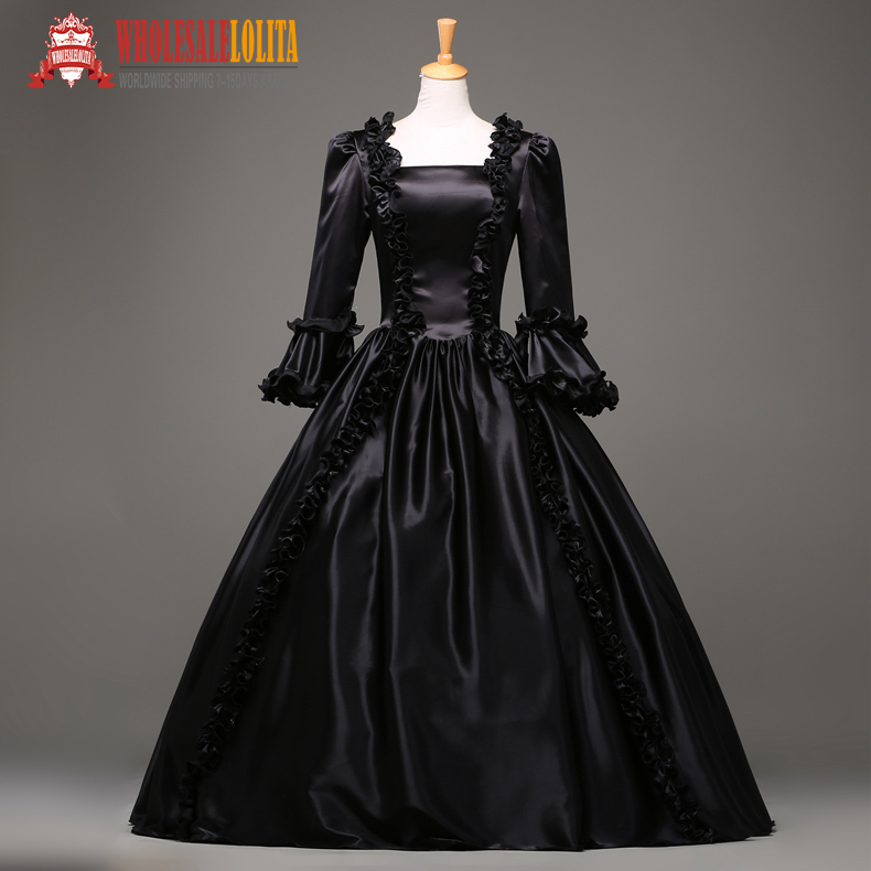 Top Sale 17 Century Black Marie Antoinette Floor-lenght Party Wear Ball Gown Gorgeous Evening Gown(China (Mainland))