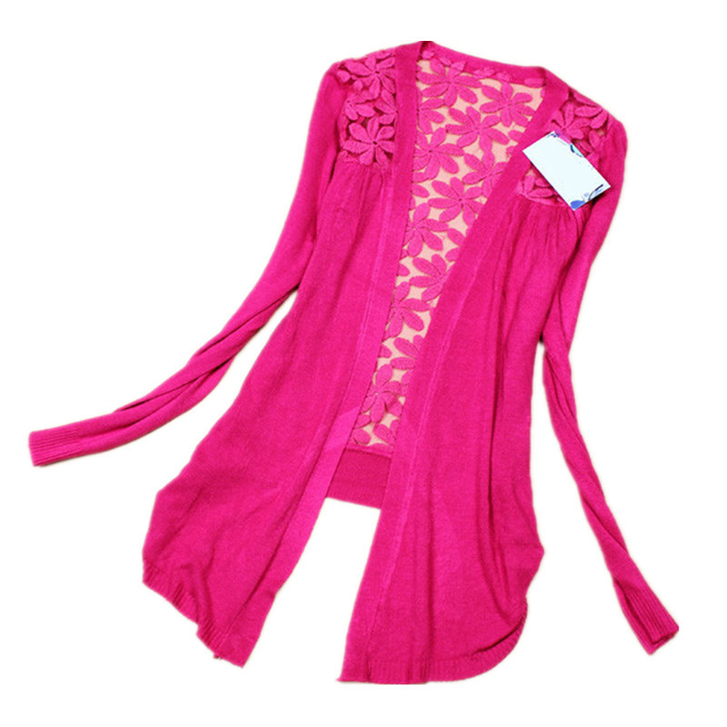 New 2015 Fashion Women Cardigan Lace Flower Sweet Candy Color Crochet Knit Blouse Sweater Cardigan Coat Casaquinho 9 Colors(China (Mainland))