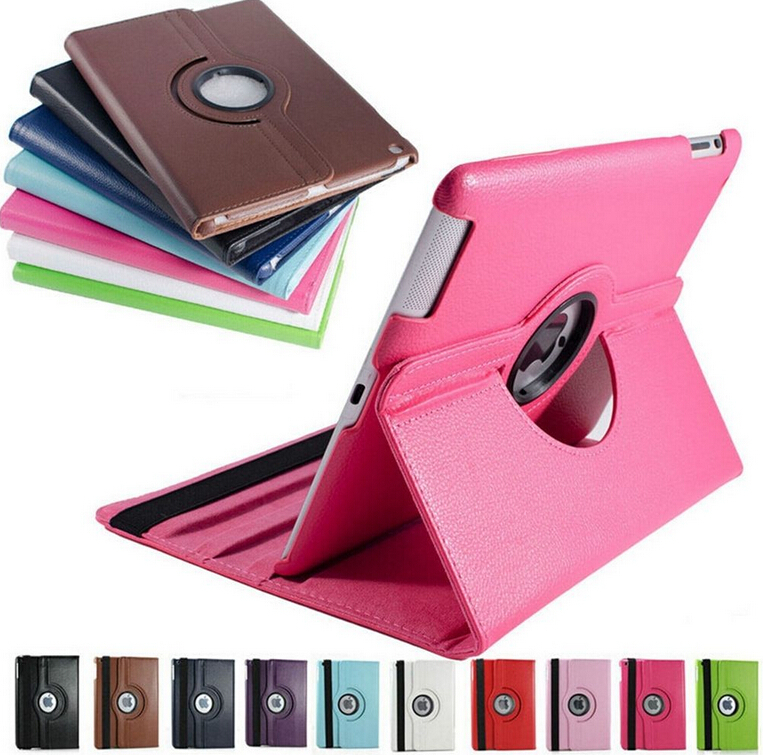 Гаджет  2015 360 Rotating Cases Flexible Ultra Thin Flip Leather For iPad2 3 4 Fashion Smart Stand Leather Cover For ipad 2 4 None Компьютер & сеть