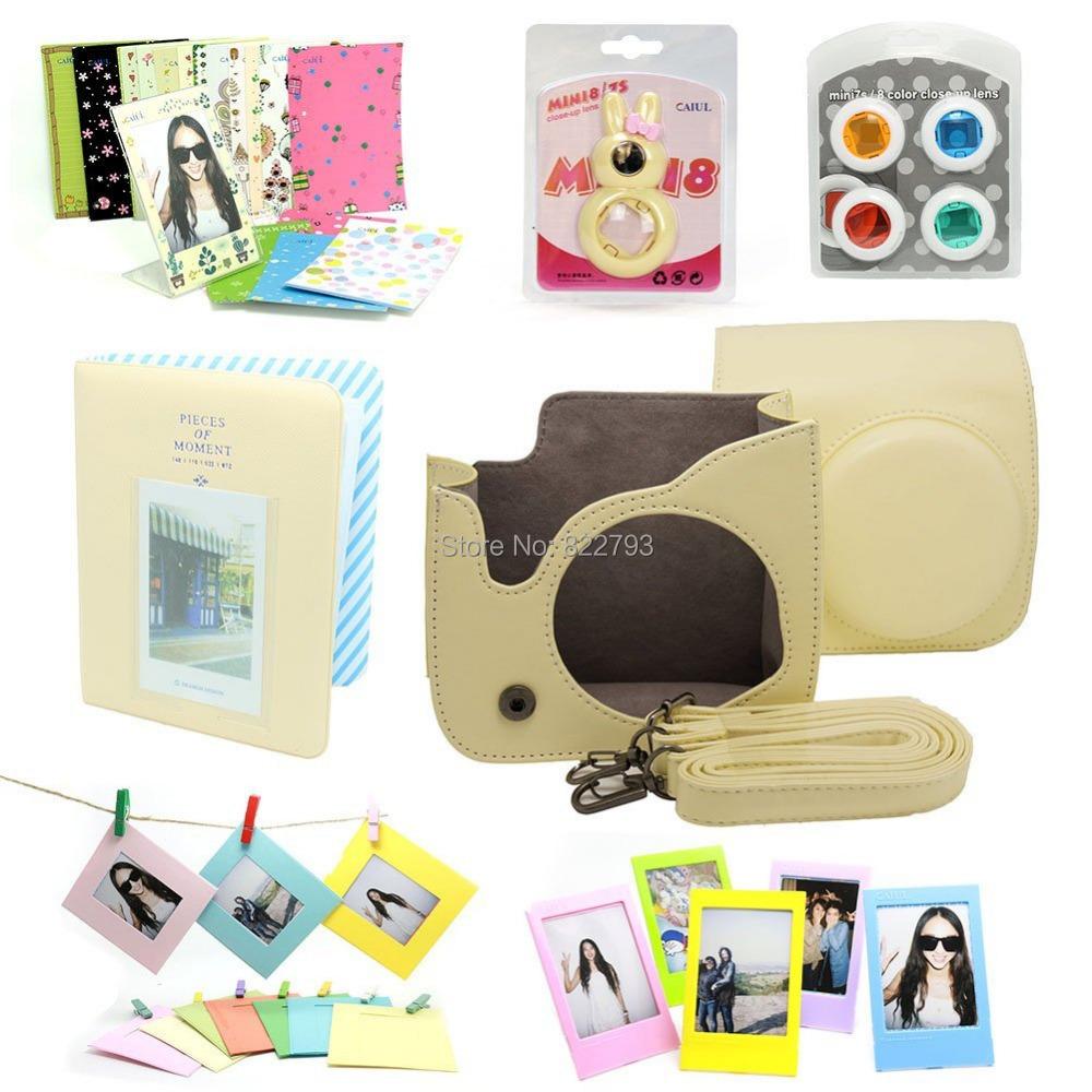 Cream -- Fujifilm Instax Mini 8 Instant Camera Accessory Bundles Set - Fashion gift accessories store