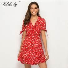 Elelady для женщин пикантные шифоновое платье с оборками V образным вырезом Винтаж принт летние платья богемный стиль жен(China)