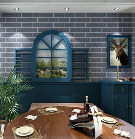 Free shipping bedroom grey brick wallpaper solid brick for Grey brick wallpaper bedroom