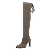 QUTAA 2020 Fashion Square High Heel Über Das Knie Stiefel Winter Frauen Schuhe Lace Up Plattform Stretch Lange Frau Stiefel größe 34-43(China)