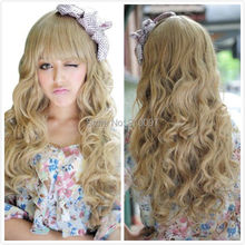 LHX32039P&P>Women Long Curly Wave Hair Cosplay Costume Party Blonde Wigs
