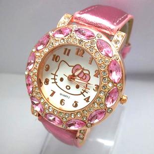 Hot Sales Cute Hello Kitty Watches Childlren Girls Women Fashion Big Stone Crystal Quartz Wristwatches 1072(China (Mainland))