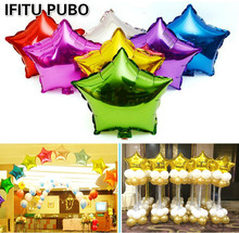 10pcs 10 inch Helium Balloon star Wedding Large aluminum Foil Balloons Inflatable gift Birthday baloon Party Decoration Ball GYH(China (Mainland))