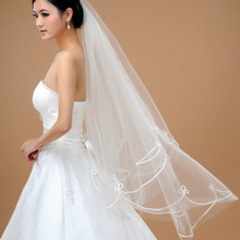 New White 1.5 Meters Short Bridal Veils 1 Tier Layer Elegant Wedding Accessories(China (Mainland))
