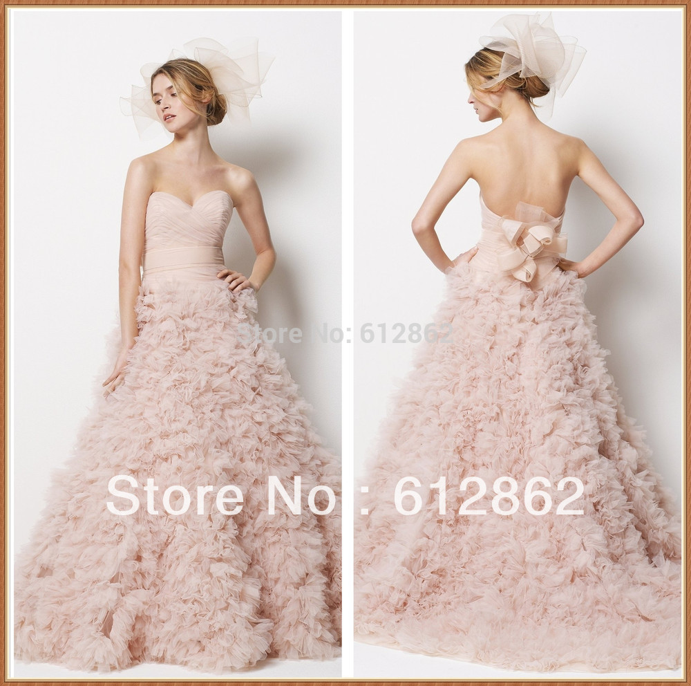 Blush Low Back Wedding Dress : Strapless sweetheart low back ruched organza blush pink