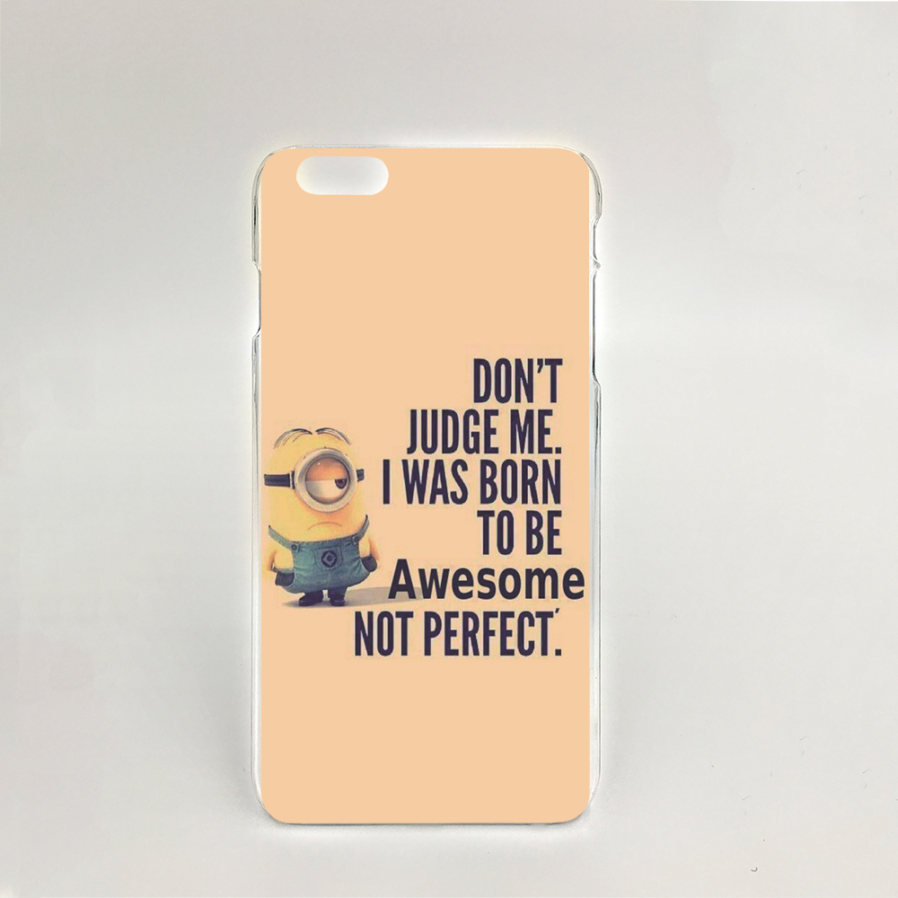 06801 Minions Quotes Hard transparent Cover Skin Back Case for iPhone 4 4S 5 5S 5C 6 6S Plus 6SPlus(China (Mainland))