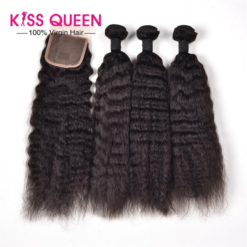 6A brazilian virgin hair with closure 3 bundles kinky straight hair with closure Rosa hair products 4*4 Lace closure human hair<br><br>Aliexpress