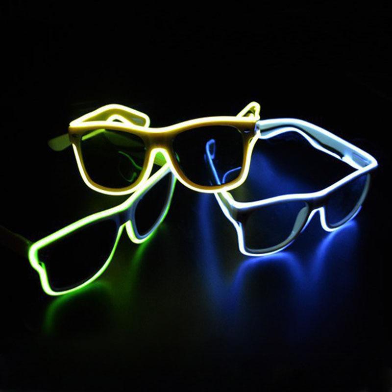Blue el glasses El Wire Fashion Neon LED Light Up Shutter Shaped Glow Sun Glasses Rave Costume Party