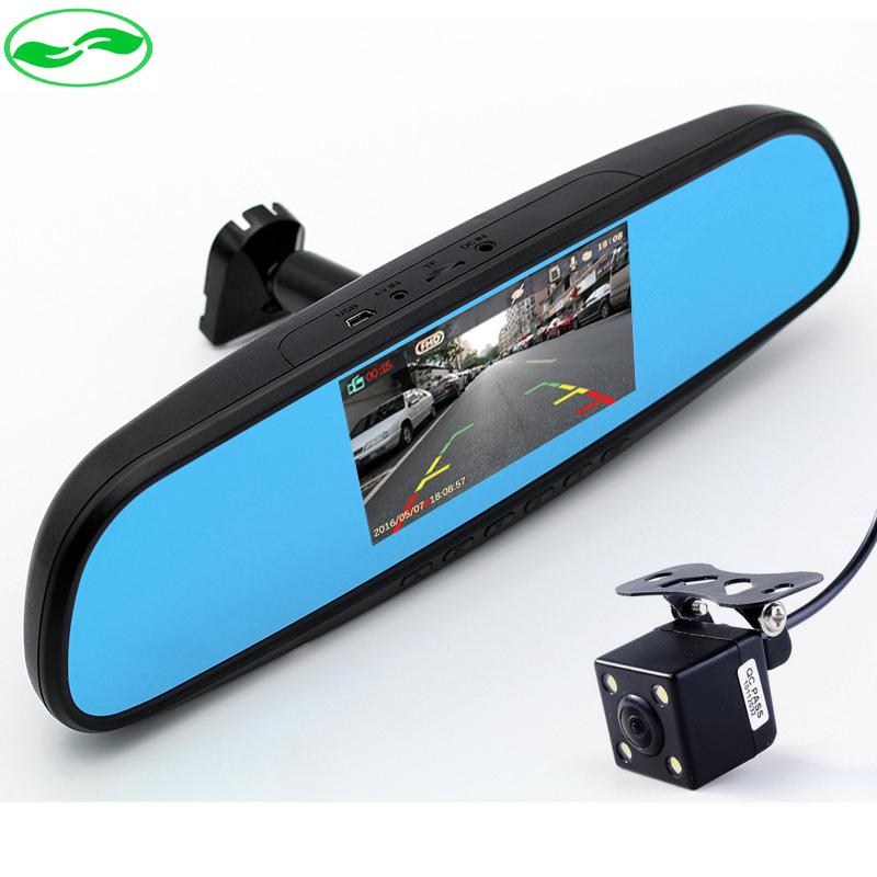 Dual Lens 1080P Car Bracket Blue Rearview Mirror Camera DVR Monitor Full HD Digital Video Recorder With Bracket Car Black Box(China (Mainland))