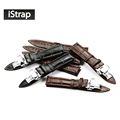 iStrap Italian Calf Leather Watch Band Strap Soft Hand Stitched S S Butterfly Clasp Bracelet 18mm