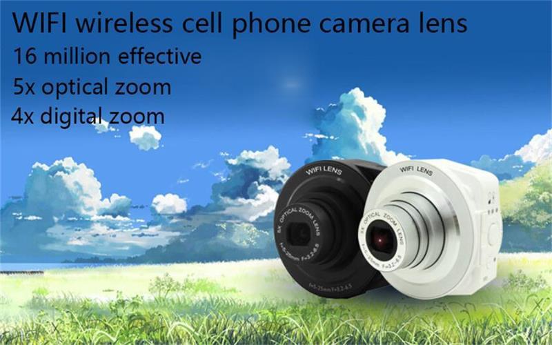 Mini 16 million pixels 5x optical zoom 4x digital zoom 1 / 2.3 inch CMOS sensor WIFI Docking Phone external camera lens(China (Mainland))