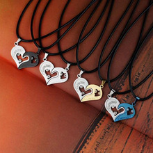 Buy LNRRABC Fashion 1 set Unisex Women Men Love Heart Shape Pendant Necklace Lovers Couples Jewelry Gift for $1.06 in AliExpress store