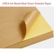 10pcs/lot Top Quality Kraft Paper Heat Toner Transfer A4 Sheets Brown Kraft Printing Copy Label Paper(China (Mainland))