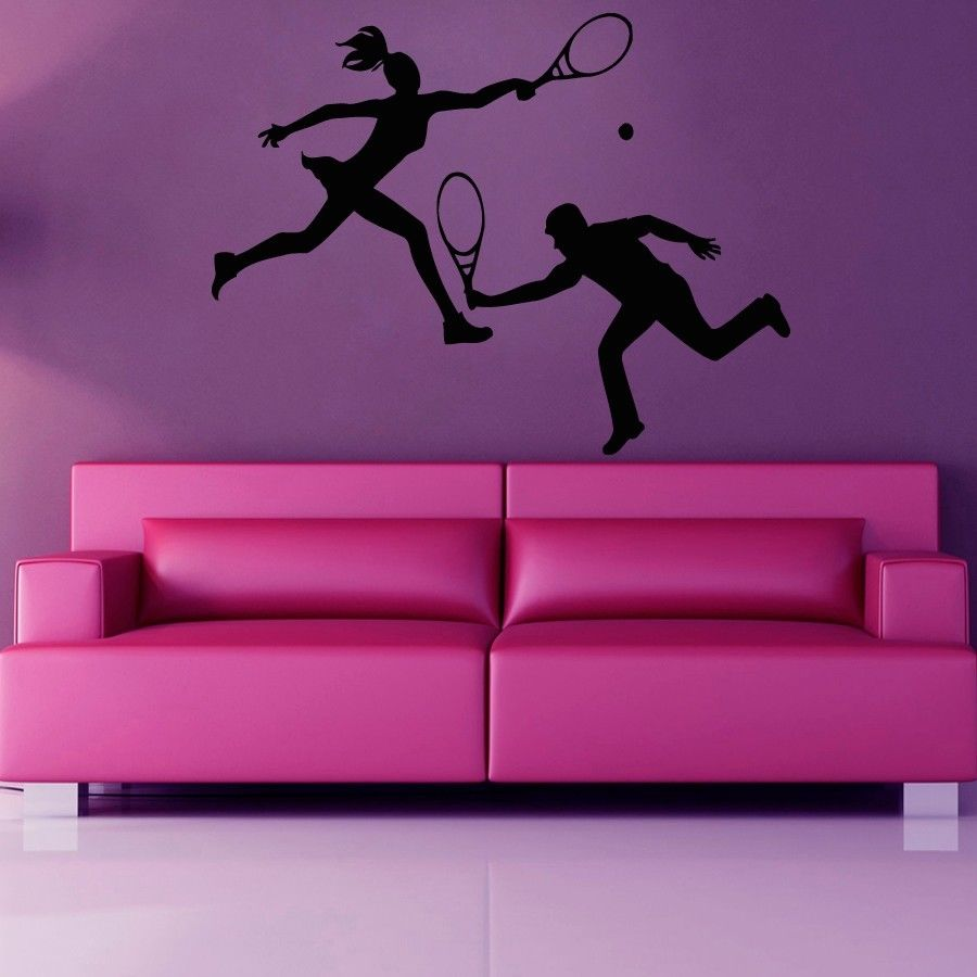 Tennis personalized name vinyl wall decor wall sticker art for Decor mural wall art