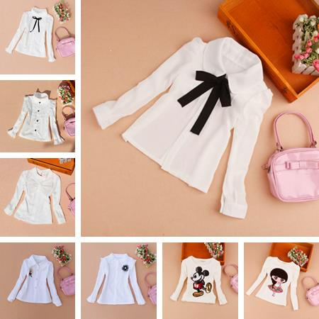 Girls Clothes 2016 Autumn Children Clothing Princess Long Sleeve Child Shirt School Girl Blouse White Blouses Kids Age 2-16Y - A M store