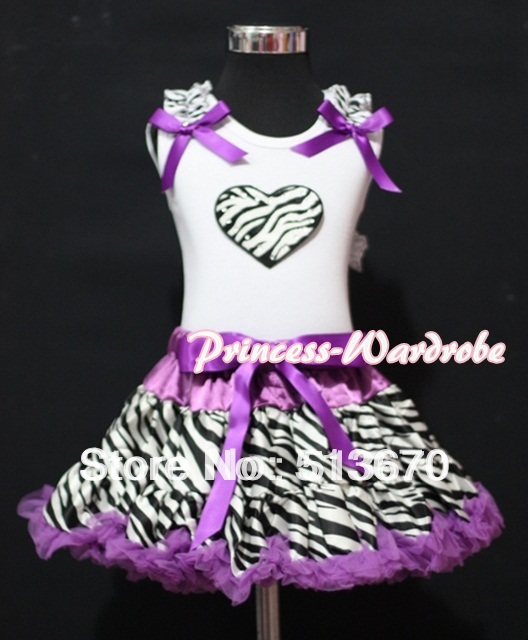 Zebra Heart Zebra Ruffles Dark Purple Bows White Tank Top with Dark Purple Zebra Pettiskirt MAMM108(Hong Kong)