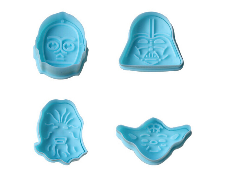 Гаджет  4pcs/set Free shipping New 3D Stamp Star Wars Set cake Cookie Cutter Fondant decorating tools None Дом и Сад