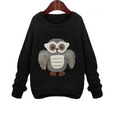 Autumn Winter Owl women sweater Fashion New Design Knitwear Round Neck pullover cartoon loose Tops Knitted Women's Sweaters(China (Mainland))