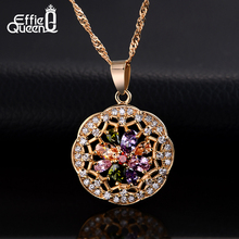 Effie Queen New Arrival Women Vintage Beautiful Flower Necklace Jewelry Colorful Zircon Crystal Pendant Necklaces DDN04(China (Mainland))