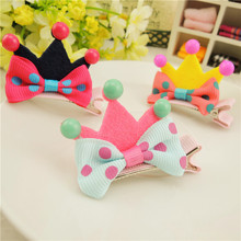 Happy 4 pcs/lot Cute  Kids Hair Clips Three-dimensional Crown Barrettes Lovely Girls Hairpin Princess Gift Duck Clip
