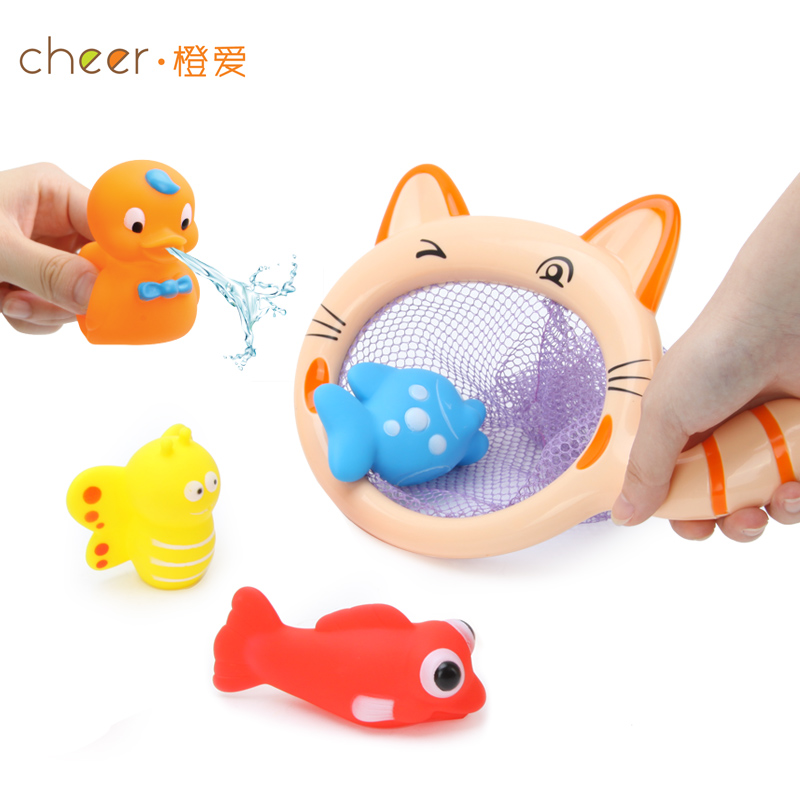 Cheer baby fish spray infant bath toy child string bag combination classic bath munchkin learning & education(China (Mainland))