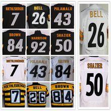 yingyuanFang Men's #7 Ben #43 Troy #50 Ryan #84 Antonio #26 LE'VEON #83 Heath #92 JAMES black and white elite jerseys(China (Mainland))