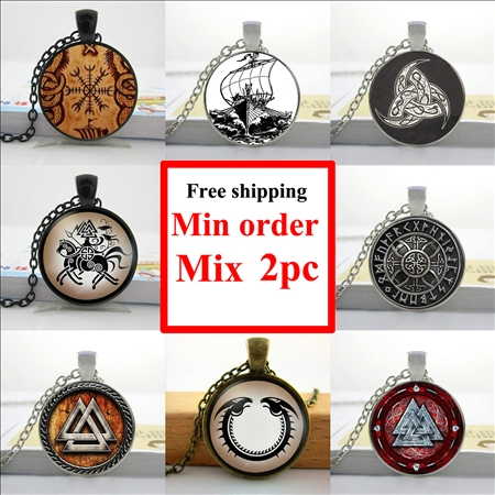 Wholesale Viking Norse Necklace Viking Symbol Pendant Viking Compass Jewelry Glass Photo Pendant Necklace(China (Mainland))