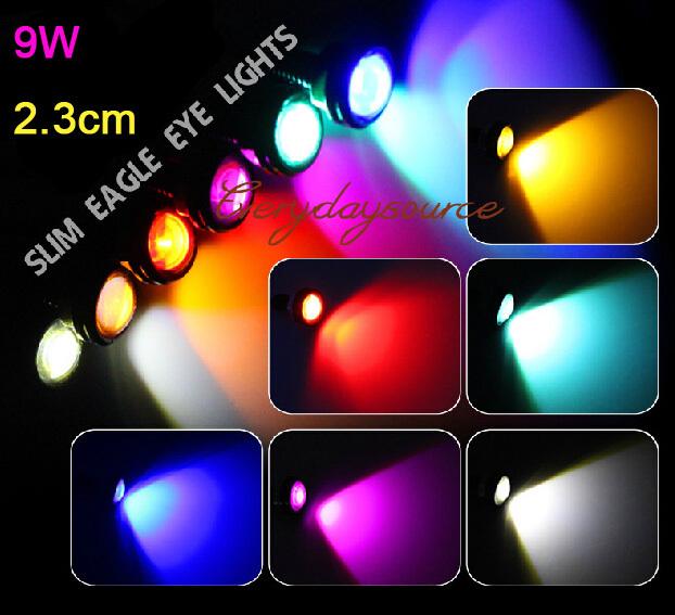LED 12V Car Daytime Running Light Eagle Eye 23mm Screw Bolt On Light Bulb Waterproof 6colors(China (Mainland))