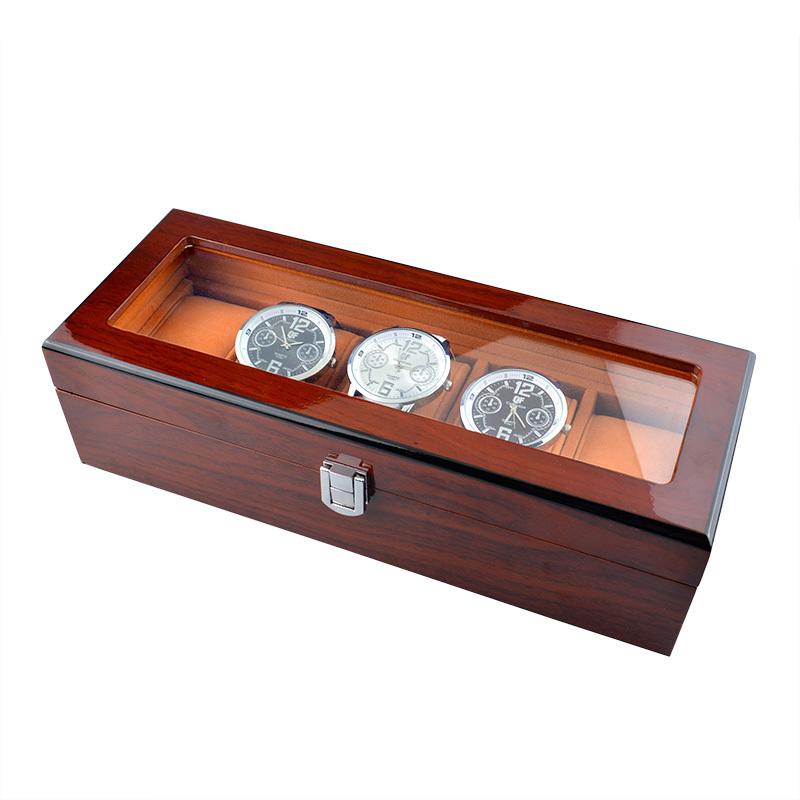 высокое качество роскошь твердой древесины палисандра смотреть поле 5 сетки часы случае смотреть дисплей Упаковка подарочная коробка для часы