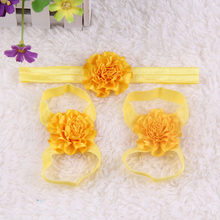 3pcs Newborn Baby Girl Kids Barefoot Sandals Shoes Headband Crystal Flower Lace Foot Band Solid Lovely Gifts Party Birthday New(China)