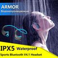 Armor Waterproof Sports Headset Wireless Bluetooth V4 1 Earphone Ear hook Running Headphone with Mic Music