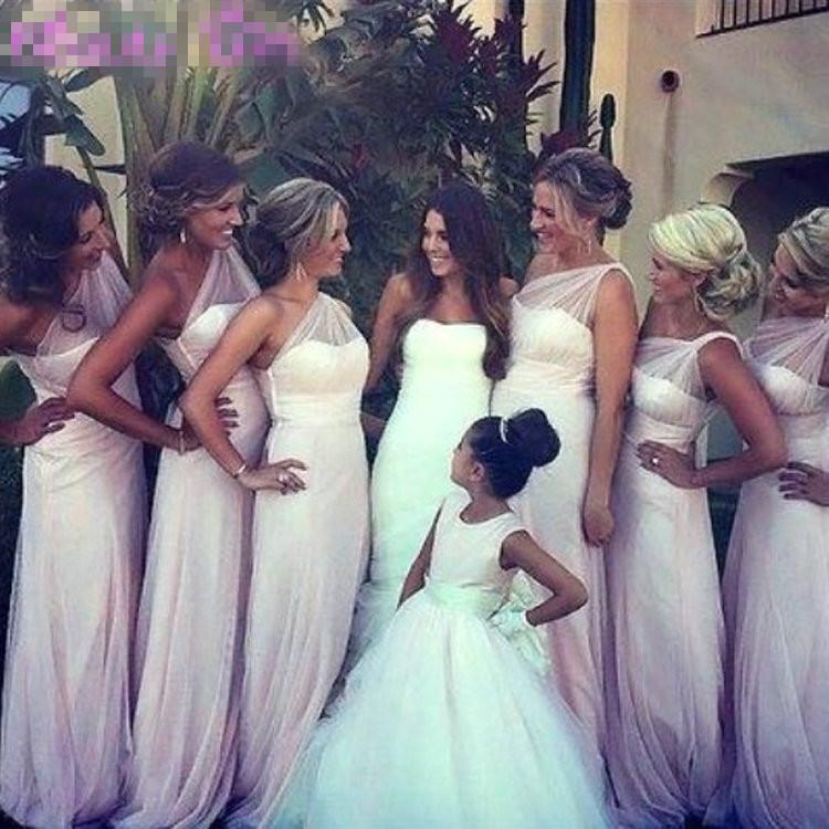 Blush One Shoulder Bridesmaid Dresses - Missy Dress