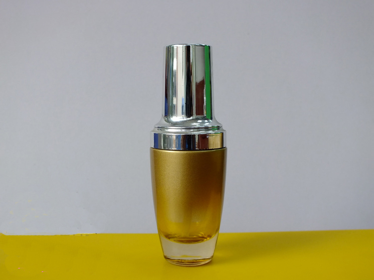 50ml gold glass bottle with silver pump for lotion serum emulsion foundation containing Cosmetic