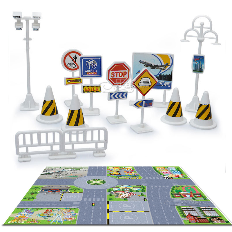 p017 12pcs Urban Traffic Safety facilities signs indicative signs crash barriers and the scene graph combination package(China (Mainland))