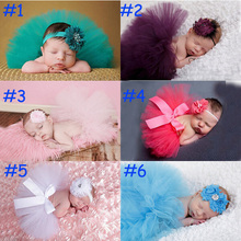 Baby Infant Girl Tutu Skirt and Flower Headband Photography Fluffy Skirt Newborn Princess Christmas Skirt 0-6 months Baby Gift(China (Mainland))