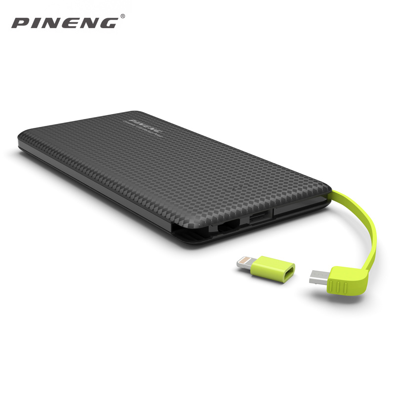 Pineng 951 Power Bank 10000mah Dual USB Built-In Charging Cable External Battery Charger Powerbank for iPhone Samsung Xiaomi HTC(China (Mainland))