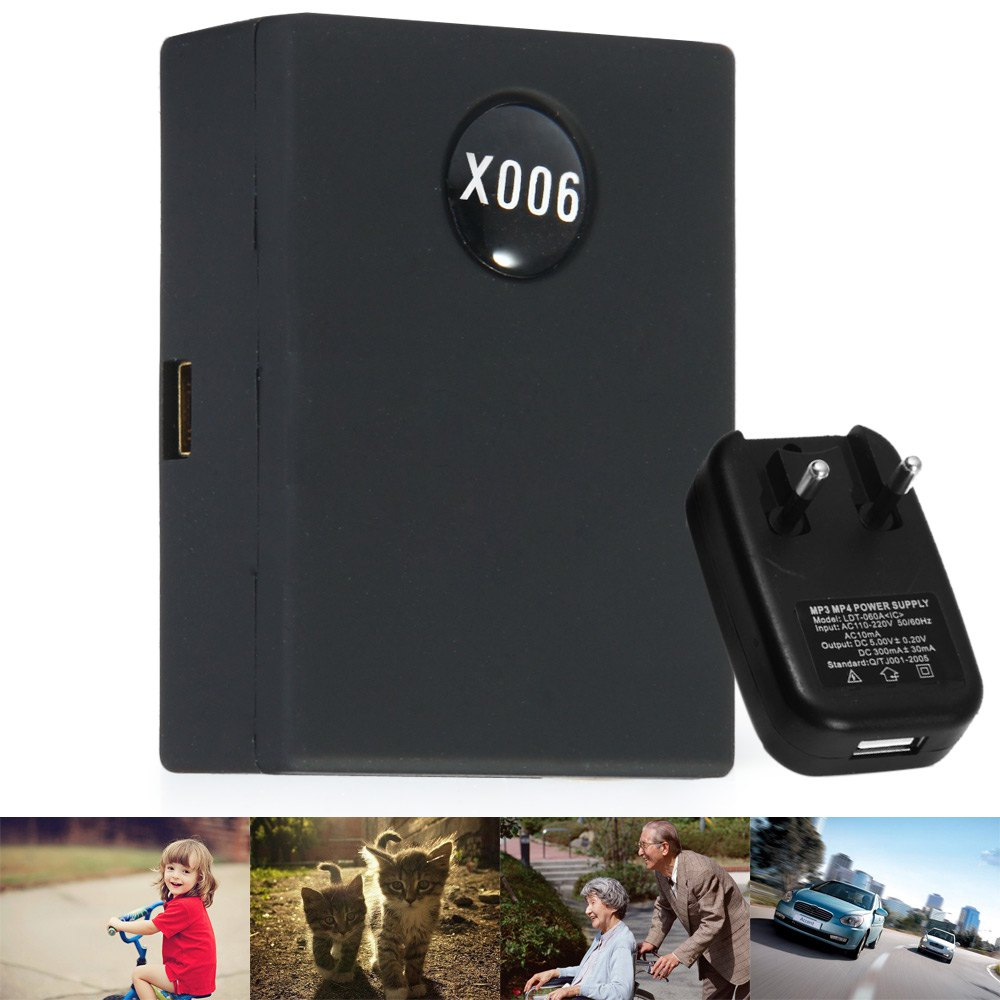 Mini X006 Tracker Locator GSM 3 Bands Tracking for Cars Kids Elder Pets - US Plug 900 / 1800 / 1900MHz Plastic Black(China (Mainland))